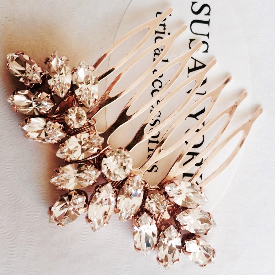 Wedding - Gold / silver/ rose gold Bridal mini hair comb made with Swarovski rhinestones. Wedding hair accessory, headpiece bridesmaid bride hair pin