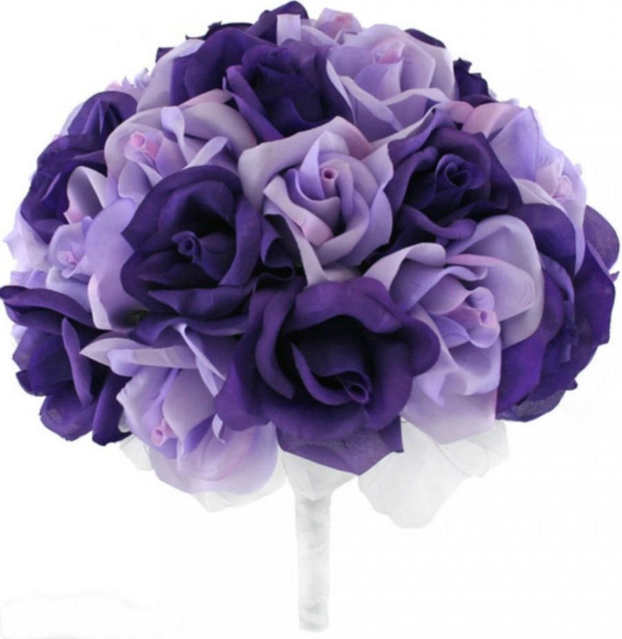 Mariage - Purple and Lavender Silk Rose Hand Tie (36 Roses) - Silk Bridal Wedding Bouquet