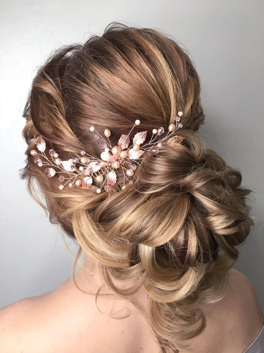 Wedding - Rose Gold Hair comb, Bridal Hair comb, Wedding Hair Piece, Leaf comb, Rose Gold Pearl Headpiece,Rose Gold Headpiece, FREE SHIPPING