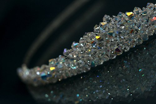 Mariage - Brides Wedding Solid Crystal Peaked Tiara made with Sparkling Swarovski Crystal Clear AB Beads