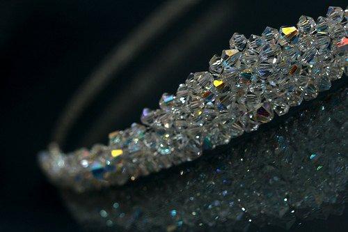 Hochzeit - Brides Wedding Solid Crystal Peaked Tiara made with Sparkling Swarovski Crystal Clear AB Beads