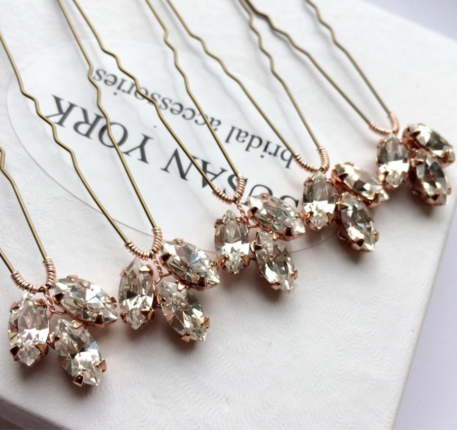 Mariage - Gold / Silver / Rose Gold hair pins Swarovsk Crystal Clear Navette Bride Wedding Hair Pins