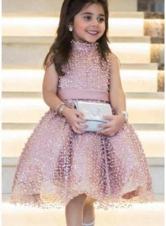 Свадьба - Modern Rosa Blumenmädchenkleider Kurz Perlan A Line Kinder Kleider Für Hochzeit Modellnummer: YY168