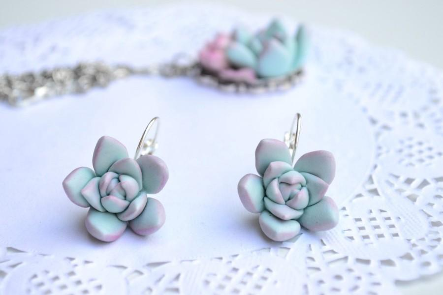 Wedding - Mint succulent earrings jewelry. Planter earrings jewelry. Rustic earrings jewelr. Wedding bridal bridesmaid succulent. Christmas earrings