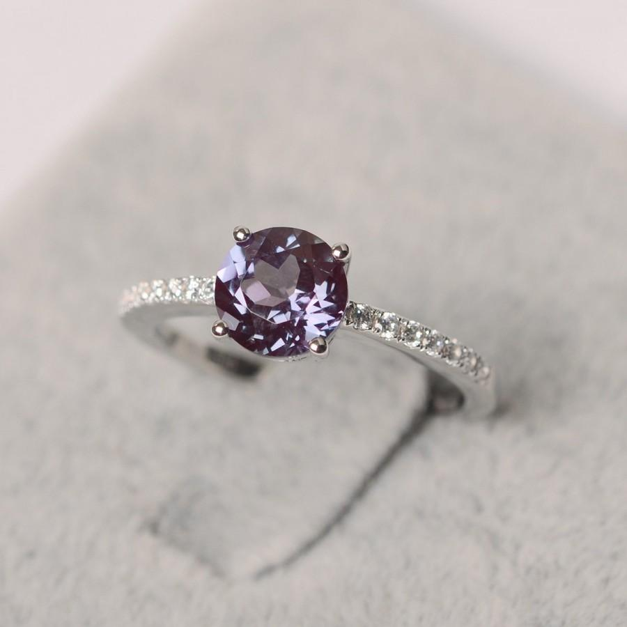 Wedding - Alexandrite ring round shape ring white gold June birthstone ring engagement ring for woman