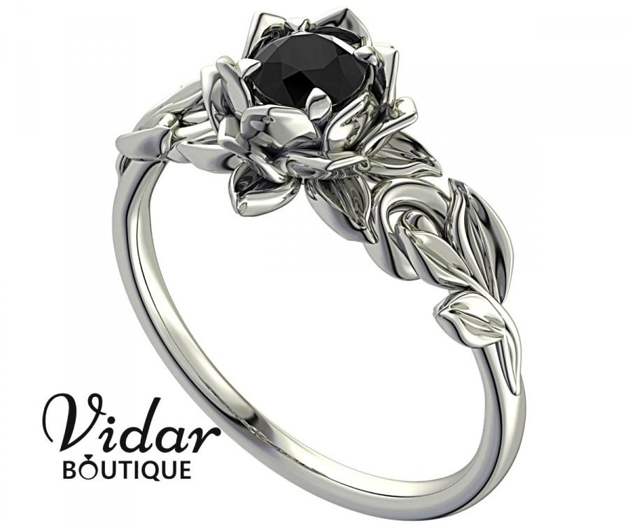 Wedding - Gothic Engagement Ring, Black Diamond Engagement Ring, Flower Engagement Ring, Unique Lotus Ring, Black Diamond leaf, Leaf Engagement Ring,