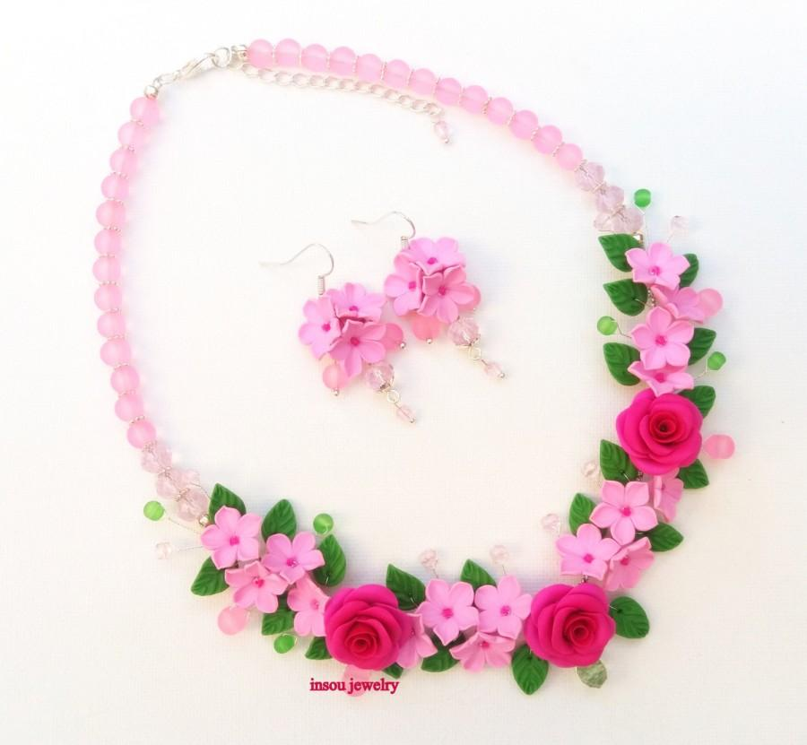 Hochzeit - Pink Jewelry Set Flower Jewelry Roses Flower Necklace Flower Earrings Romantic Jewelry Polymer Jewelry Flowers Gift For Her Wedding Jewelry