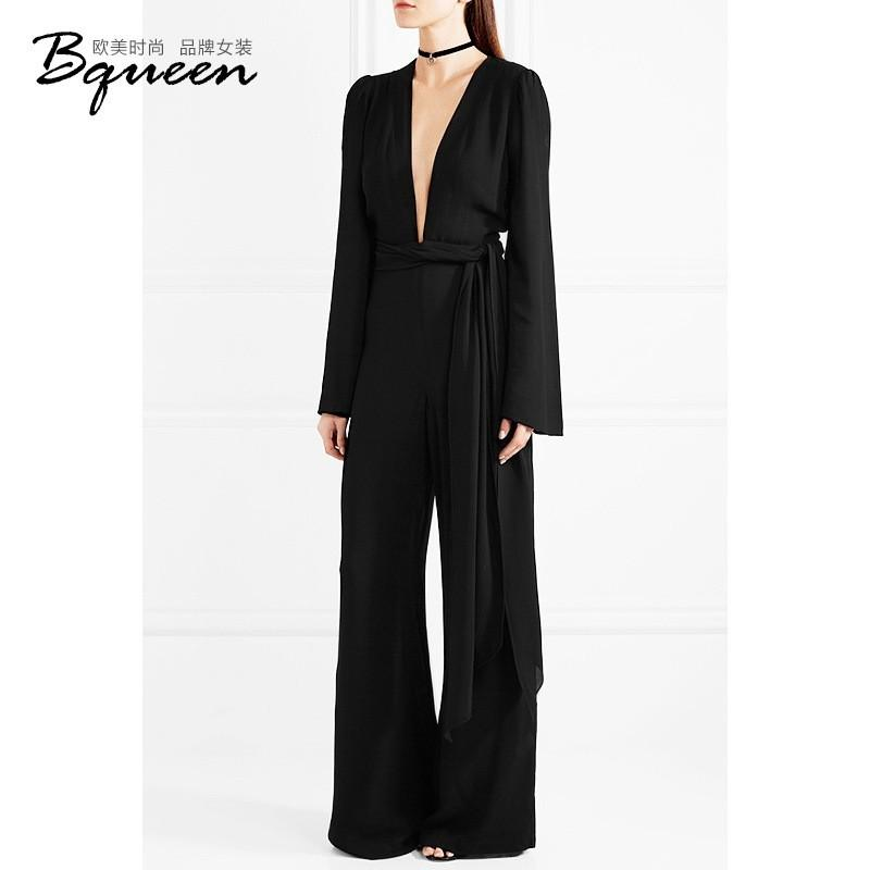 Wedding - 2017 spring a new character a sense of V-neck High waist strap trousers slim fit, wide-leg jumpsuit - Bonny YZOZO Boutique Store