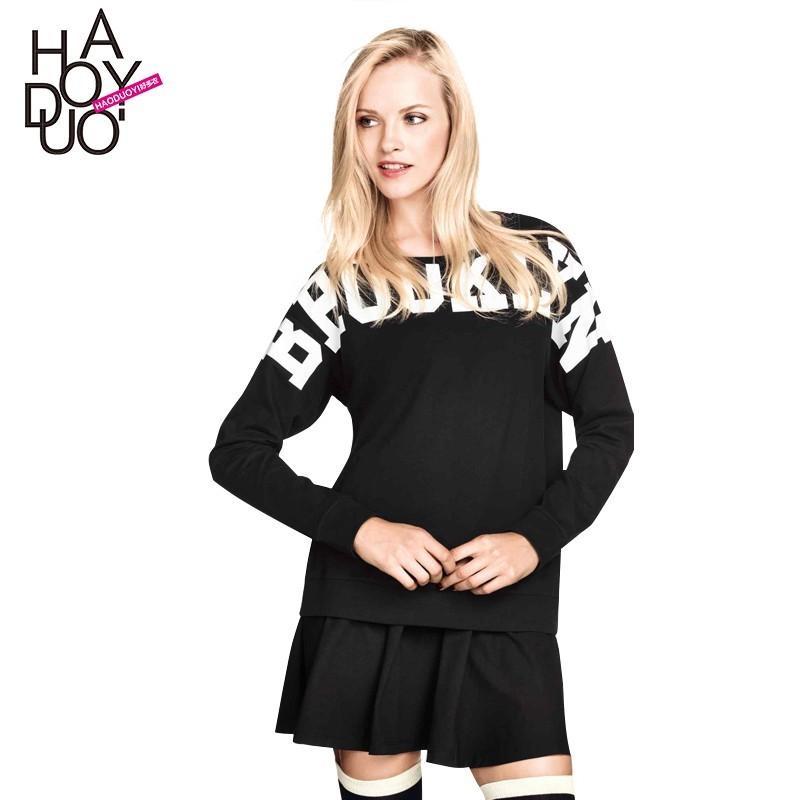 Wedding - School Style Boyfriend Oversized Vogue Printed Alphabet Hoodie - Bonny YZOZO Boutique Store