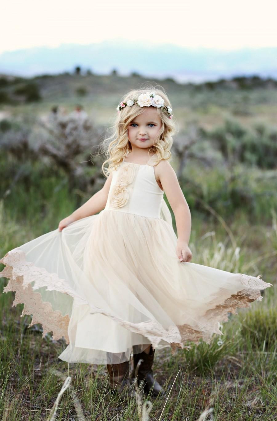Ivory Flower Girl Dress Ivory and Champagne flower girl dress Rustic Flower Girl Dresses Flower Girl Dresses Dresses Flower Girl Dress