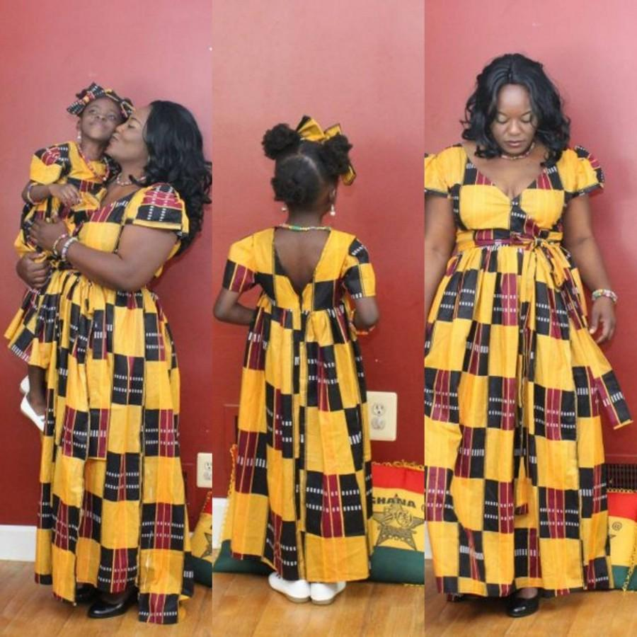 c668178bec NEW Kente Mommy N Me Maxi Dresses, Ankara Dress Matching Outfits,Mother  Daughter Outfits Ankara Dress,One Shoulder Dresses, Mommy N Me Dress