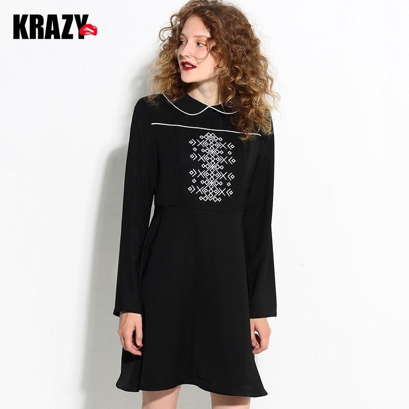Mariage - Embroidery Polo Collar Fall Black Mini Dress Dress - Bonny YZOZO Boutique Store