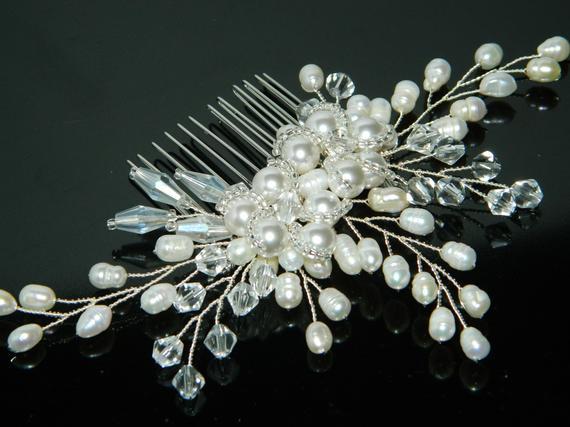 Wedding - Pearl Bridal Hair Comb, Wedding Pearl Crystal Hair Comb, Bridal Hair Piece, Pearl Floral Headpiece Bridal Hair Jewelry White Pearl Hair Comb