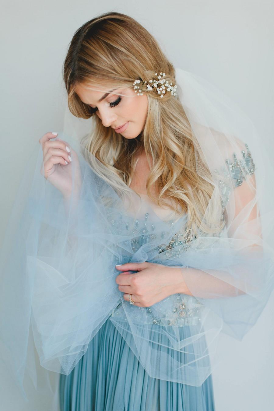 Wedding - Blue Ombre Veil, Hand Dyed Veil, Bridal Veil, Dip Dyed Veil, Cathedral Veil, Fingertip Bridal Veil, Tulle Veil, Blue Veil, Waltz Veil 1712