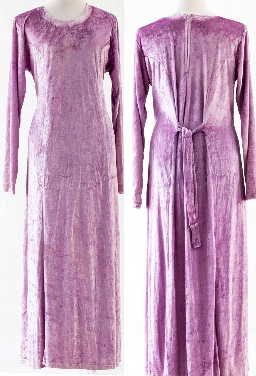 Mariage - Velvet Silk Dress, Incredible Dress, 1980s Vintage Dress, Fashionable Dress, Lavander Maxi Dress, Elegant Long Sleeves, Women's Velvet Dress
