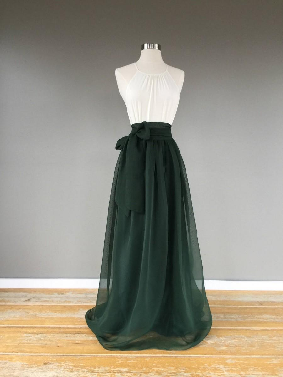 زفاف - EMERALD chiffon skirt, any length and color Bridesmaid skirt, floor length, empire waist chiffon skirt, SASH is additional charge!