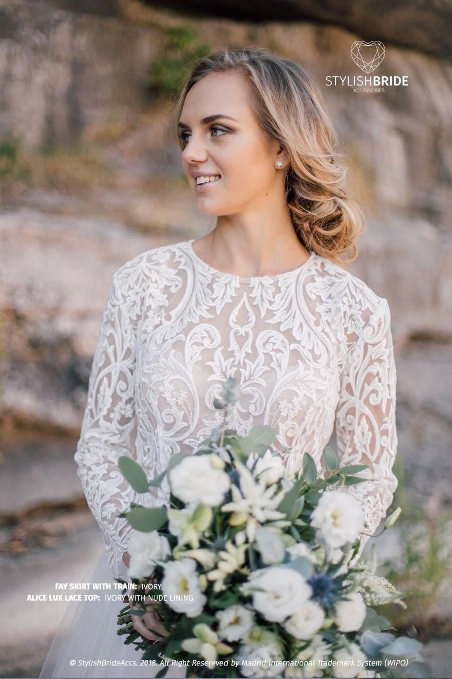 Wedding - Alice Lux Lace Top Wedding, New collection Lace crop top Ivory or White, Lace Prom Tops, Bridal Lace Crop Top Plus Size