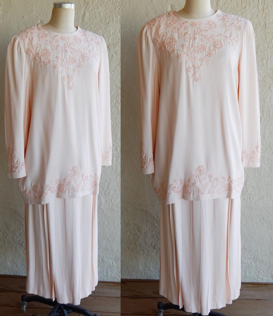 Wedding - Talbots Formal Dress Suit Set Peachy Pink Mothers Wedding Dress Pearl Embroidered Size 14 Womens Tunic Long Skirt Set Unique Formal Pastel