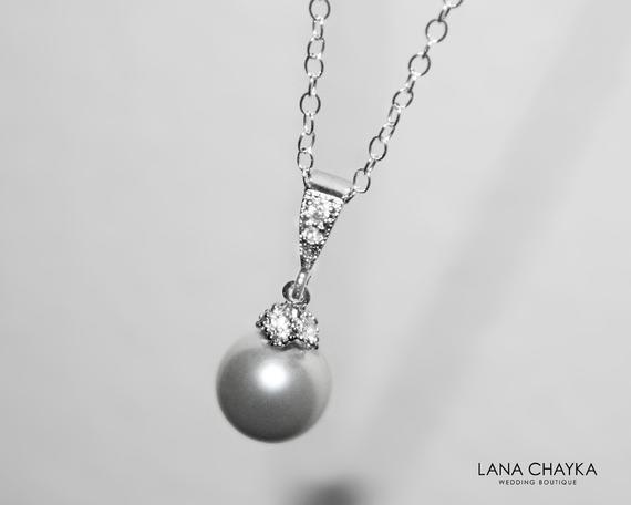 Mariage - Light Grey Pearl Drop Necklace, Swarovski 8mm Pearl Silver Necklace, Small Grey Pearl Wedding Necklace, Bridal Bridesmaid Gray Pearl Jewelry