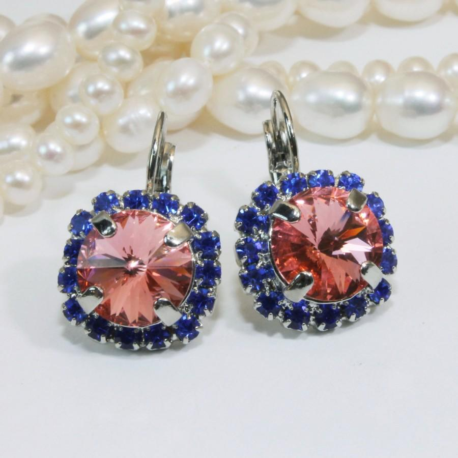 Hochzeit - Royal Blue Coral Earrings Sapphire Peach Swarovski Crystal Drop Earrings Blue Cobalt large Halo Dangle Earrings ,Silver ,Rose Peach SE98
