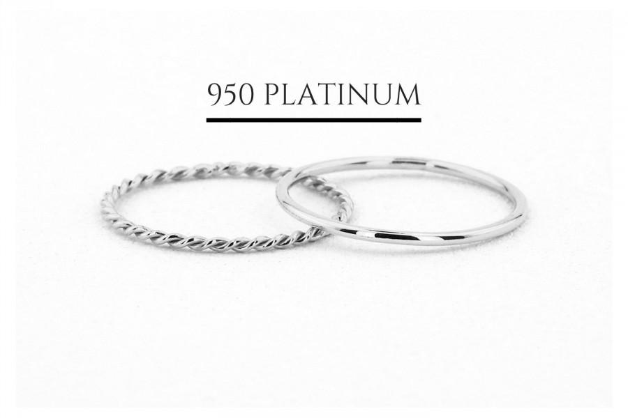 Wedding - Platinum Wedding Band Set with Twisted Rope Ring / Stackable Set of 1.2MM Thin 950 Platinum Band and Braided Rope Ring