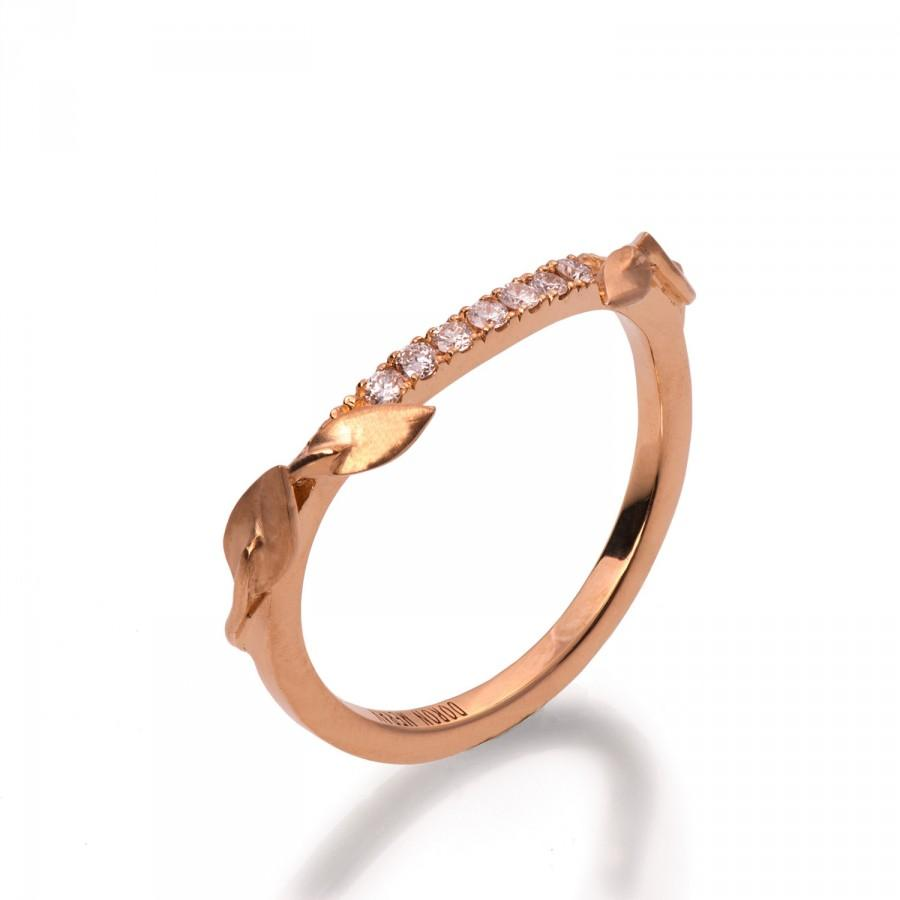 Hochzeit - Half Eternity Leaves Ring, 18K Rose Gold and diamond Ring, Diamond Band, Eternity Ring, Eternity Band, Half Eternity leaf Band,leaves Band,3