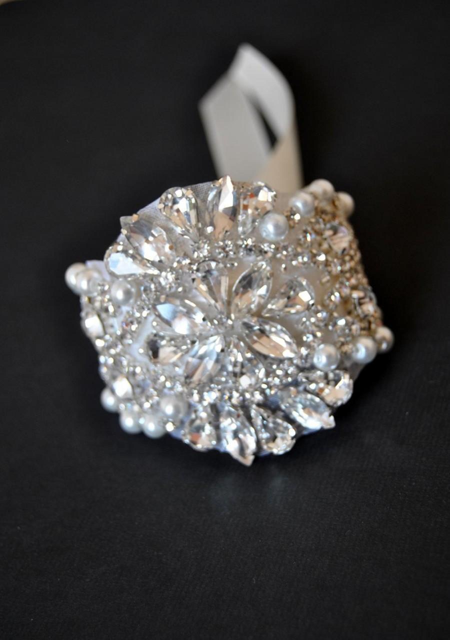 Wedding - Rhinestone beaded cuff bracelet- bridal, bridesmaid cuff bracelet,bridal bracelet, beaded crystal cuff