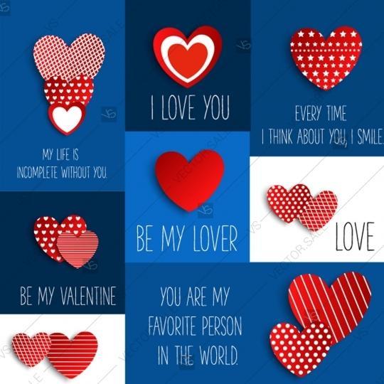 Wedding - Set of Valentine's cards vector