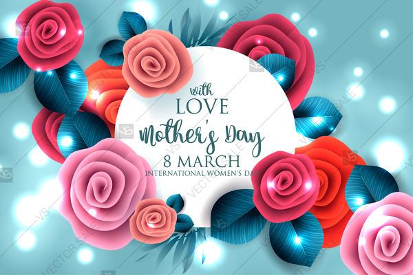 Mothers Day 8 March Greeting Card With Flowers Paper Roses Origami