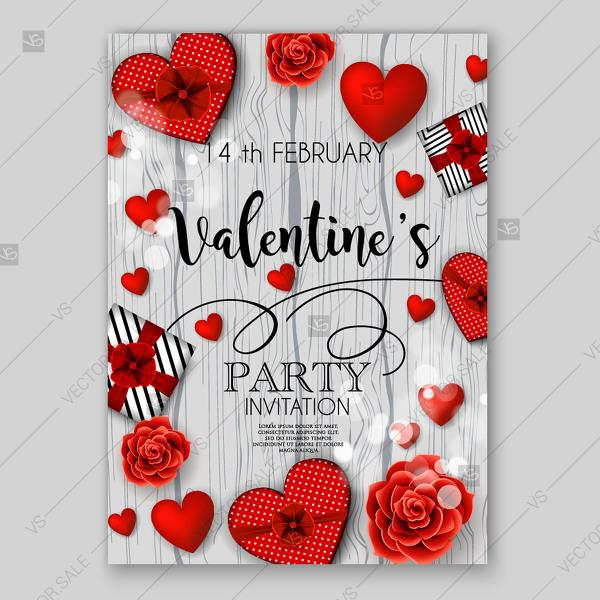 Valentine S Day Party Invitation Card Vector Heart Gift Box