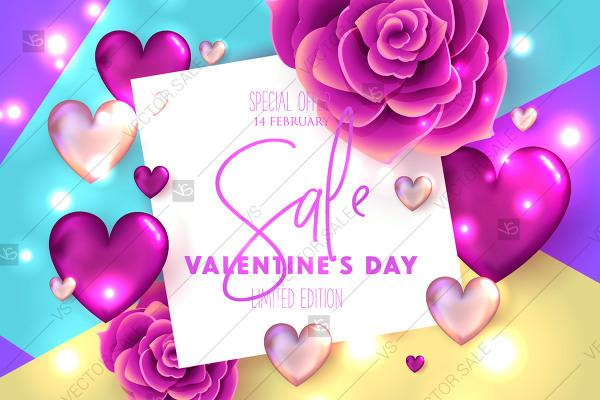 Mariage - Valentines Day Sale Banner Rose Hearts Wedding Invitation Background