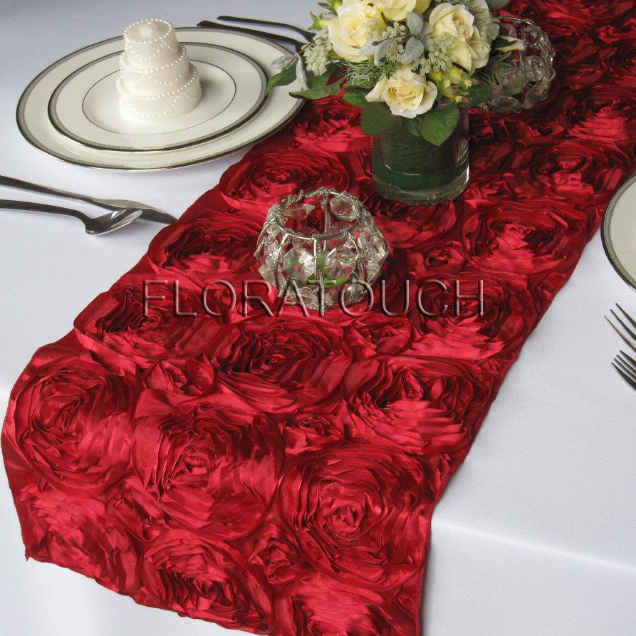 Mariage - Dark Red Satin Ribbon Rosette Wedding Table Runner