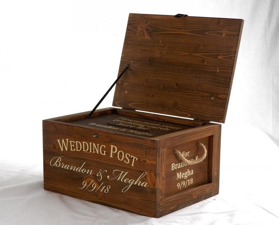 Mariage - Large Wedding card Box with lock, post box, keepsake box with lock, wedding card holder, rustic wedding, wood card box, wedding gift