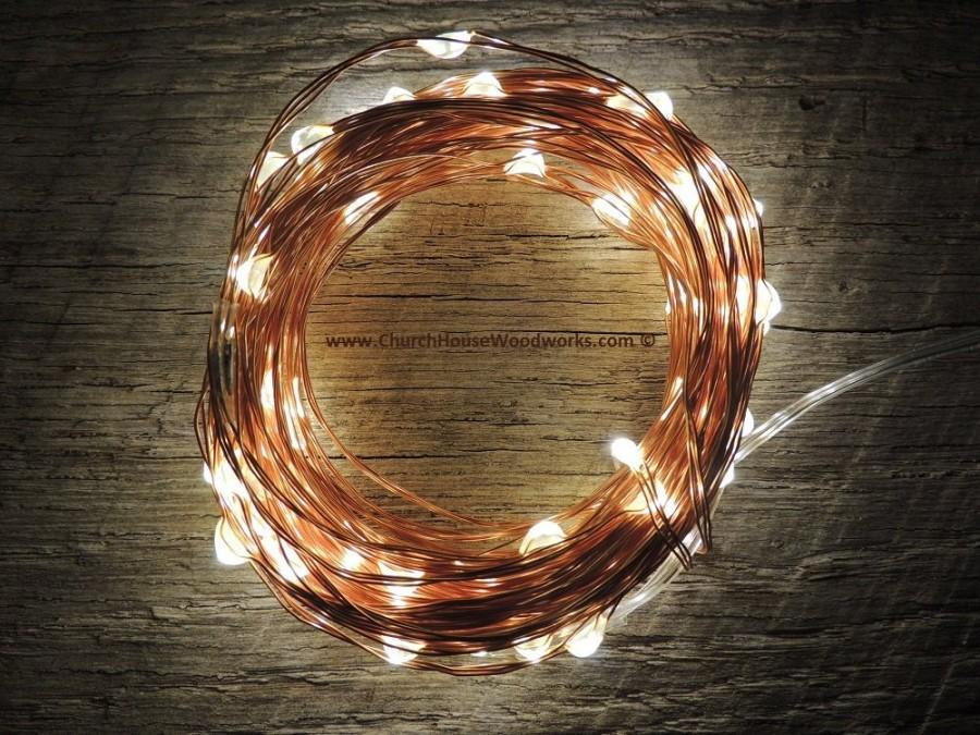 Hochzeit - 100 LED Battery Operated Fairy Lights, 10M 33 feet,  Rustic Wedding Decor, Room Decor, Copper Wire Strand Warm White