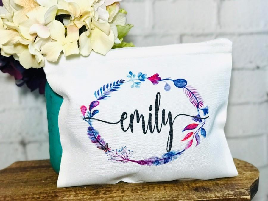 Wedding - personalized makeup bag, boho makeup bag, boho cosmetic bag, boho bridesmaid gift, make up bag for bridemaids, personalized cosmetic bag