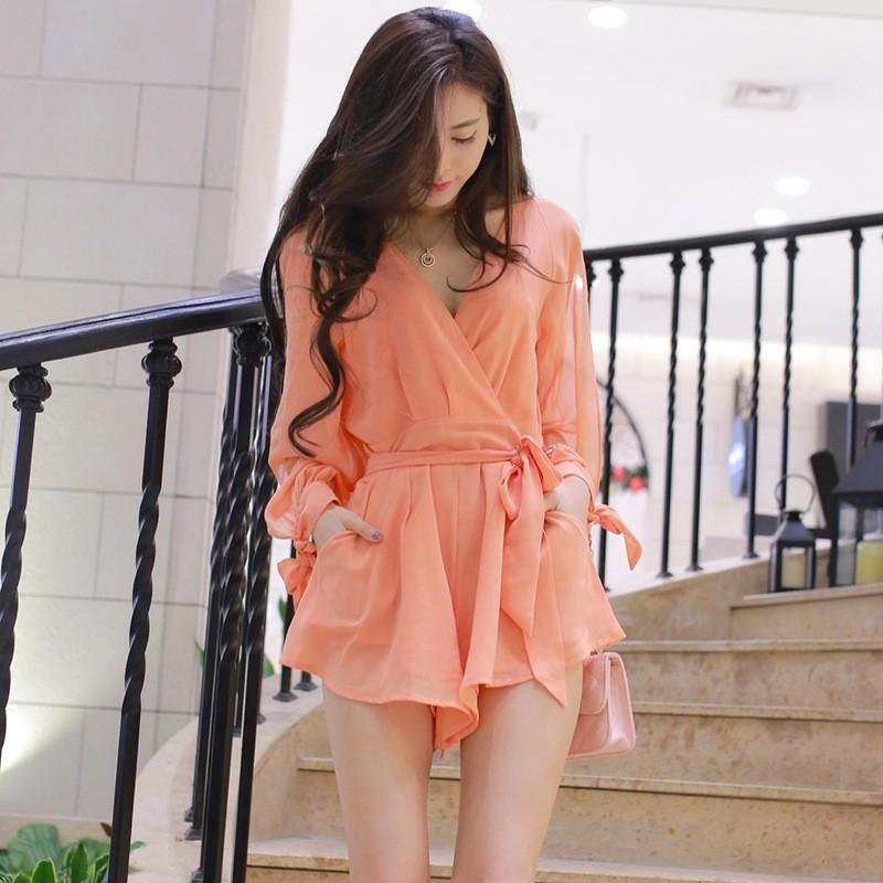 Wedding - Europe Spring Summer women's beach vacation series 2017-Orange chiffon lace one-piece shorts BJ03013 - Bonny YZOZO Boutique Store