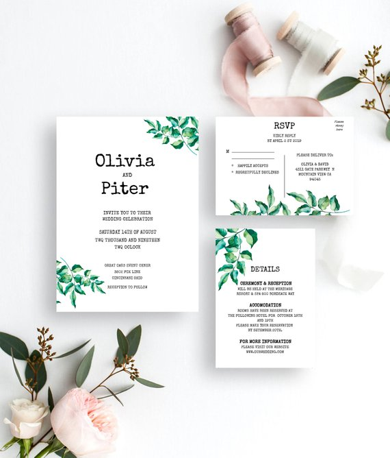 Свадьба - Greenery Wedding Invitation Set Template Printable Wedding Invitation Suite DIY Templett PDF Instant Download Editable