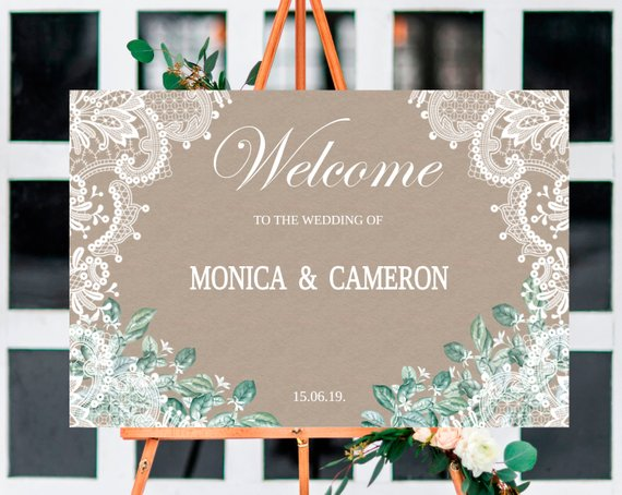 Свадьба - Ructic Wedding Welcome SignTemplate, Lace, Jasmin Welcome to the Wedding Printable, Welcome Board, Instant Download, Templett.