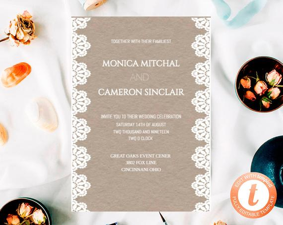 Wedding - Rustic Wedding Invitation Template, Printable Wedding Invitation , Wedding Invitation Download, Orange flower, Templett.