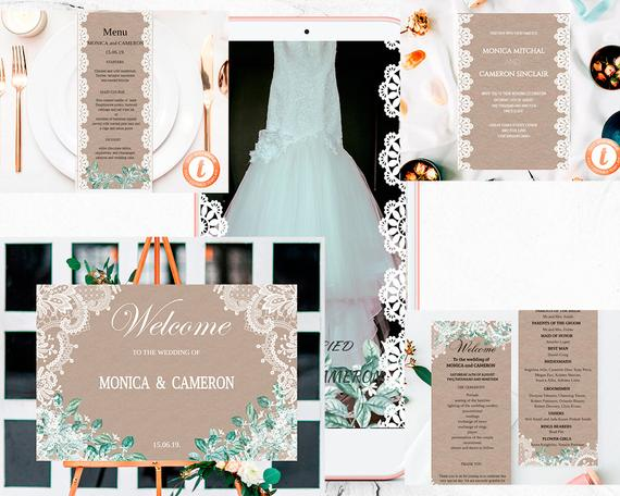 Hochzeit - Wedding Invitation Template, Rustic Printable Wedding Invitation Set of 5, Wedding Invitation Download, Templett.
