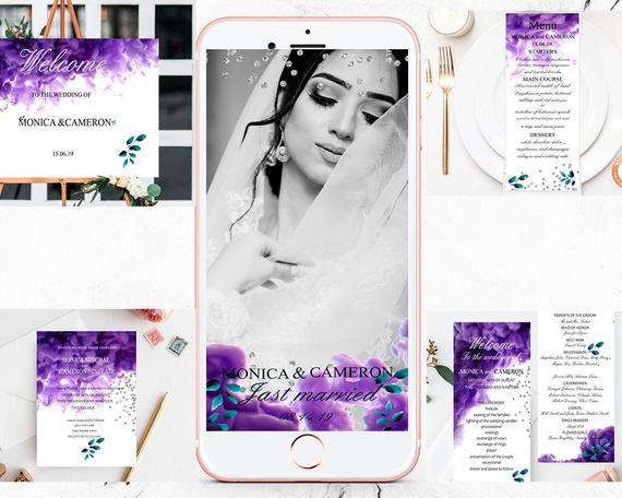 Wedding - Wedding Invitation Template, Purple haze Printable Wedding Invitation Set of 5, Wedding Invitation Download, Templett.