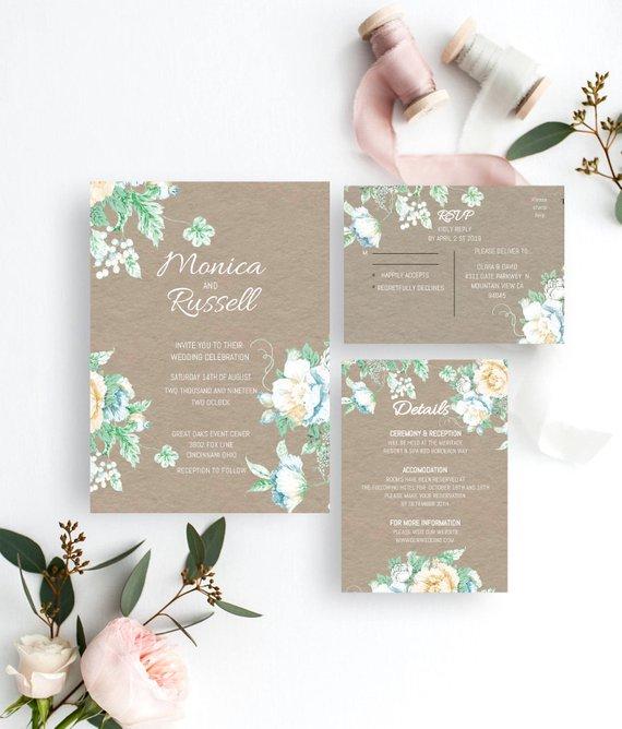 Hochzeit - Wedding Invitation Set Template Printable Wedding Invitation Suite DIY Templett PDF Instant Download Editable