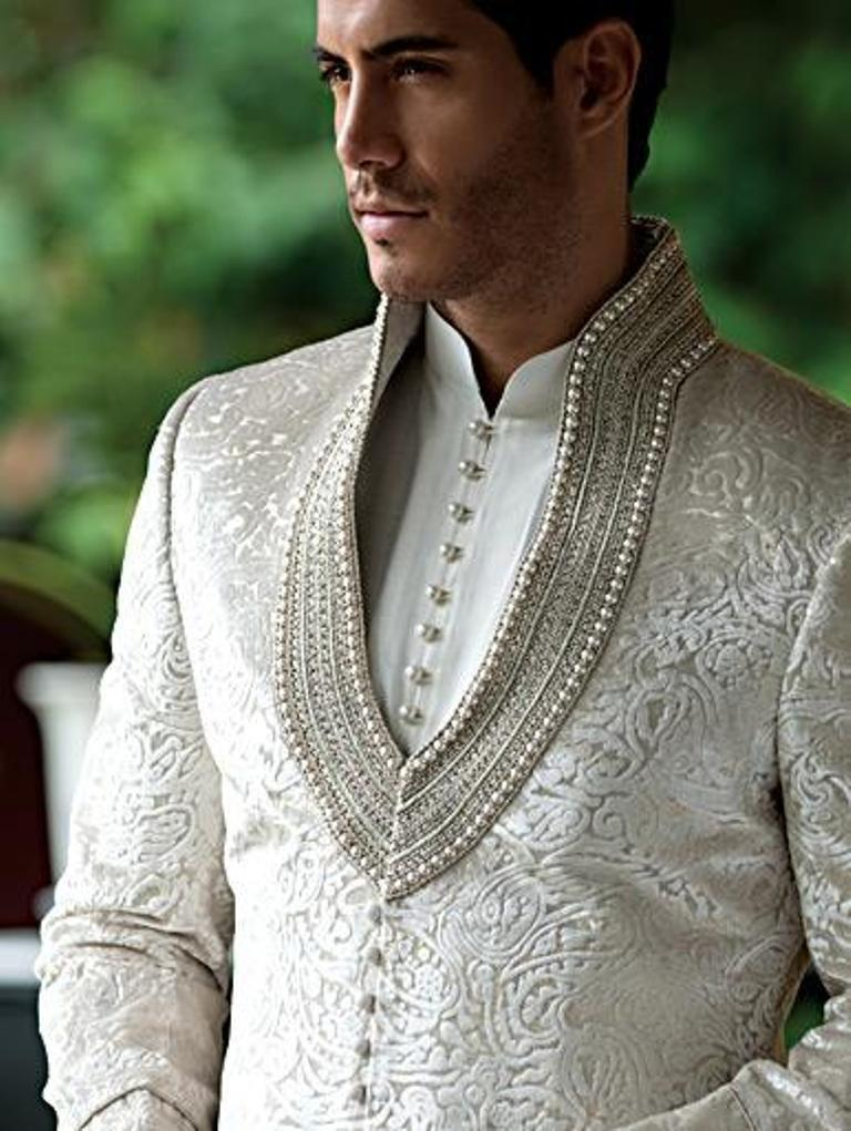 Wedding - Men's Suit Bridal Wear Jacquard Silk Hand Work Sherwani With Churidaar Pazama White Color