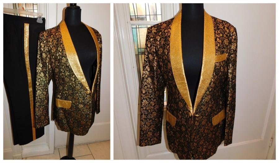 """زفاف - Vintage Mens Brocade Gold Metallic Rat Pack Motown Suit Tux Suit Custom Tailored Jacket Slacks Set 38"""" Chest 30"""" Waist"""