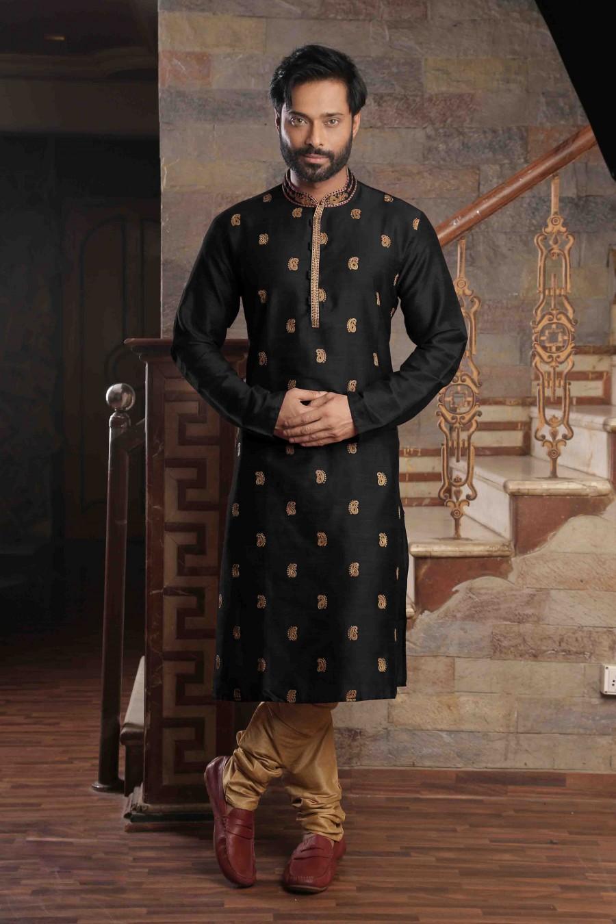 Hochzeit - pakistani slub silk black man's kurta pajama with embroidery work