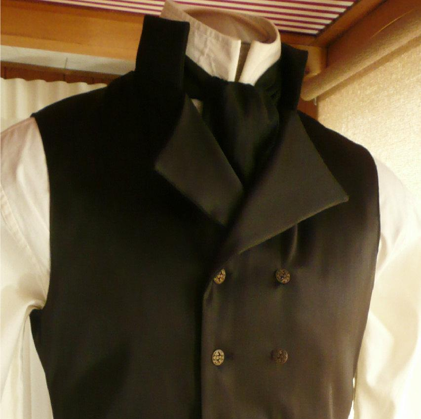 Wedding - Mens English Regency Double Breasted Vest in Black Satin Grooms Waistcoat French Empire Eveningwear