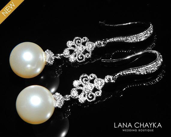 Wedding - Bridal Pearl Chandelier Earrings Wedding Pearl Earrings Swarovski 10mm Ivory Pearl Dangle Earrings Bridal Pearl Drop Earrings Bridal Jewelry