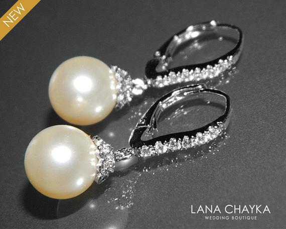 Wedding - Pearl Bridal Earrings Pearl CZ Leverback Wedding Earrings Swarovski 10mm Ivory Pearl Silver Earrings Bridal Pearl Drop Earrings Bridesmaids