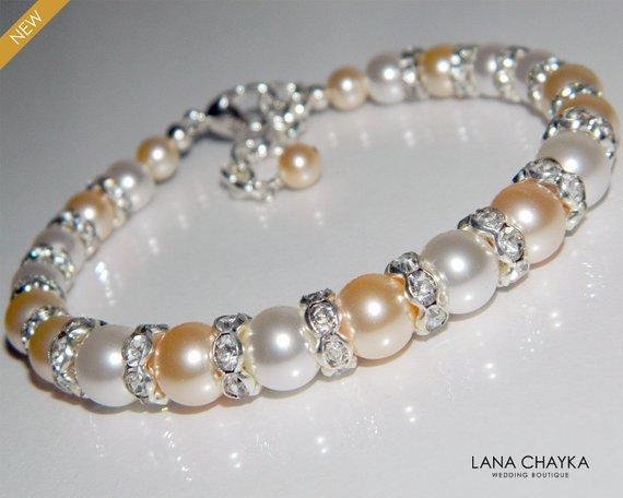 Hochzeit - Pearl Bridal Bracelet, Swarovski White Peach Pearl Bracelet, Wedding Pearl One Row Bracelet Peach White Pearl Jewelry Classic Pearl Bracelet