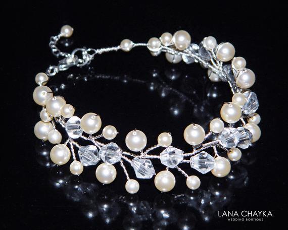 Hochzeit - Pearl Crystal Bridal Bracelet, Swarovski Ivory Pearl Bracelet, Pearl Wedding Bracelet, Pearl Bridal Jewelry, Pearl Floral Bridal Bracelet